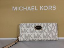 NWT Authentic Michael Kors MK Vanilla PVC Travel Continental Zip Wallet Wristlet
