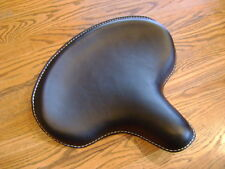 BLACK LEATHER HARLEY SOLO SEAT KNUCKLEHEAD PANHEAD WL 45 RIGID FRAME