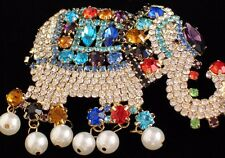 PRONG SET PEARL BLUE PURPLE RHINESTONE CIRCUS ELEPHANT PIN BROOCH JEWELRY MOVES