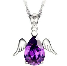 Silver Angel Wing Amethyst Purple Crystal Waterdrop Pendant Necklace Chain L28