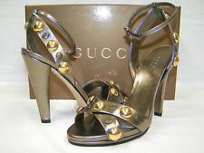 NIB GUCCI METALLIC LEATHER BABOUSKA GOLD STUDDED SANDALS PUMPS 39.5 9.5 ITALY