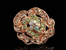 New rose Austrian champagne yellow crystal rhinestone gold plate Brooch pin D03