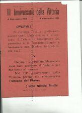 Ia guerra -Volantino Giovani Nazionalisti Fiorentini -4-11-1918/ 4-11-1921