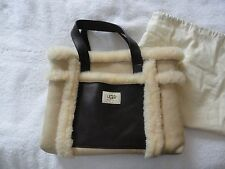 UGG Australia GRAB BAG Shearling Leather Hobo/Tote Purse ECRU BROWN EUC &Dustbag