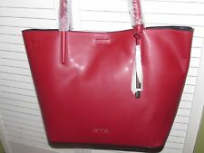 NEW Tags Woman's Calvin Klein Large 12 In Cherry Red Leather Shoulder Bag Purse