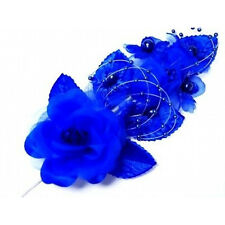 "3 royal blue Silk Pearl & organza flower  Corsages 5""x 2.5 with pearl pin"