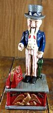 UNCLE SAM PATRIOTIC 4TH OF JULY DECOR CAST IRON MECHANICAL BANK COIN DROPS N BAG