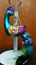Peacock glass ornament feather tail /glitter All over *
