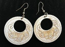Boho Hippy Gypsy 70s Style Open Hoop White Wooden Abstract Fashion Earrings