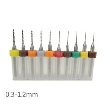 10Pcs/Set PCB Print Circuit Board Carbide Micro Drill Bits 0.3-1.2mm CNC