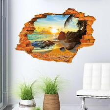 3D Spiaggia nel Tramonto Adesivo da Parete Poster 60x90cm Decorazioni Casa