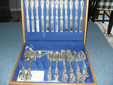 FB Rogers Silverplate French Rose 64 Piece With New Flatware Box