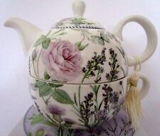 TEA FOR ONE TEAPOT SET LAVENDER DESIGN IN MATCHING GIFT BOX BEAUTIFUL GIFT