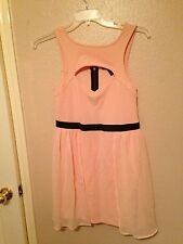 Material Girl New Peach Sleeveless Textured w/Chiffon Overlay Cocktail Dress L