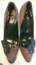 Ladies Topshop high heel shoes green tweed bow court shoes size 6