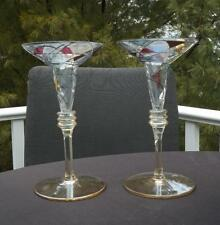 """Pair Romanian Milano Still Stained Glass Partylite Taper Candle Holders 7"""" EXC"""