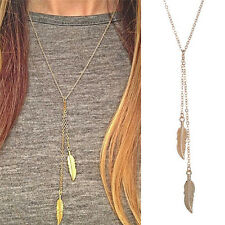 Women Fashion Long Chain Necklace Chic Leaf Feather Tassel Pendant Necklace CA