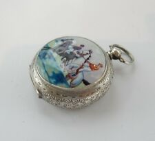 Antique Sterling Silver & Enamel Horse Racing Pocket Fob Hallmarked