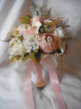 Wedding Bouquet, Blush, Pink, Cream, Rose Gold Brooches, Silk, Hand-Tied, Shabby