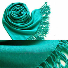 Lake Green Womens Cashmere Silk Solid Long Scarf Pashmina Shawl Wrap winter warm