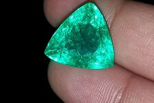 Fantastic Trillion Shape 8.60 Ct Natural Muzo Certified Colombian Emerald Gems