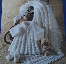 KNITTING PATTERN - BABY'S SHAWL, MATINEE COAT & SHOES DK OR 4-PLY SIZE 14-18""
