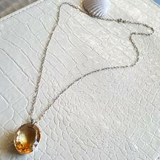"CHRISTMAS SPECIAL HUGE CITRINE  GLASS SOLID SILVER PENDANT NECKLACE 14g 20"" 925"