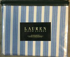 RALPH LAUREN BLUE GREY AND IVORY STRIPED  QUEEN SHEET SET