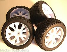 BS937-001/2 1/10 Scale RC Buggy Street Wheels and Tyres x 4 White