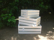 SET OF 3 WHITE WOODEN COUNTRY CRATE STORAGE BOX