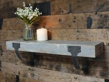 Rustic Style Distressed Wooden Wall Mounted Shelf with Metal Brackets
