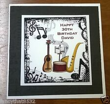 Handmade Personalised Birthday Card Music Any Age 18th 21st 30th 40th 50th 60th