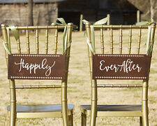 Happily Ever After Bride and Groom Brown Chair Signs Wedding Decorations Q36826