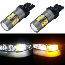 Alla Lighting 2pc 4014 62-SMD 7443 White Yellow LED Switchback Turn Signal Light