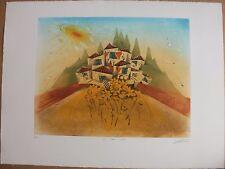 Gravure etching signée numér de Georges DUSSAU Tournesol village 1982