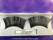 Fake Eye Lashes black extra long with glue 3cm fancy dress glamour lash