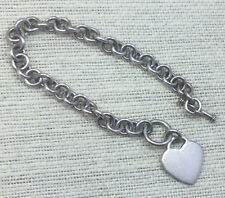 Vintage Sterling Bracelet 925 Silver Thick Chain & Heart Charm