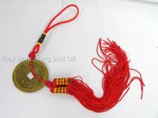 "12"" Feng Shui Chinese Oriental Lucky Tied I Ching Money Coin Charm Red Tassel #D"
