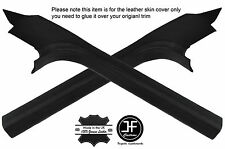 BLACK STITCHING 2X DOOR SILL TRIM LEATHER COVERS FITS CORVETTE C6 2005-2013