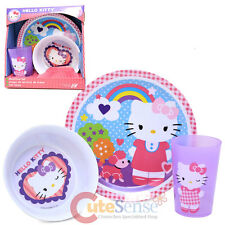 Sanrio Hello Kitty Dining Set 3Pc Kids  Dinnerware Plate Bowl Drink Cup