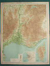 1921 grande carte ~ france south-eastern section marseille environs corse corsica