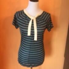 Pre-owned JEAN PAUL GAULTIER Maille Femme Blue Brown Striped Top  SZ M ITALY