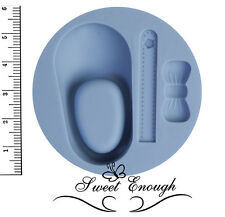 Baby Shoe With Bow Ribbon Silicone Mould Sugarcraft Cake Christening mold girl