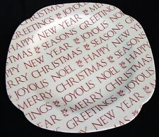 "Sweet Spode England Holiday Dish, White & Red Words, 9"" Porcelain"