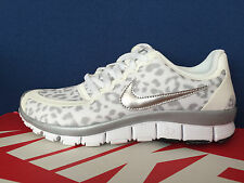 Nike Free 5.0 V4 sz 6 Leopard Cheetah Animal Print Run White Grey Silver Roshe