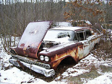1959 FORD DISINTEGRATING IN A SNOWY junk yard 8 x 10 Photograph