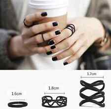3PCS Black Womens Punk Stack Plain Above Knuckle Ring Midi Finger Tip Rings Set