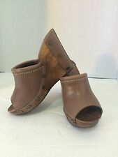 SEE BY CHLOE BROWN LEATHER PEEP TOE WOOD WEDGE CLOGS SIZE 36 US 6 $375