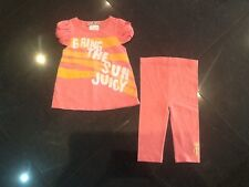 Juicy Couture New & Genuine Baby Girl Peach Cotton 2 Piece With Logo 6/12 MTHS