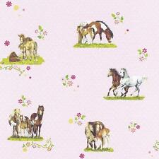 RASCH HORSE PONY PATTERN POLKA DOT FLORAL MOTIF GIRLS CHILDRENS WALLPAPER PINK